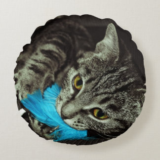 Tabby Cat with Feather by Shirley Taylor Round Pillow