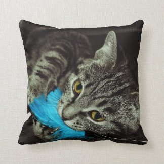 Tabby Cat with Feather by Shirley Taylor Throw Pillow