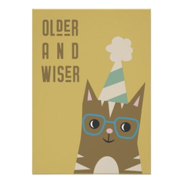 Tabby Cat with Glasses Birthday Poster