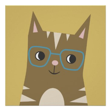 Tabby Cat with Glasses Poster