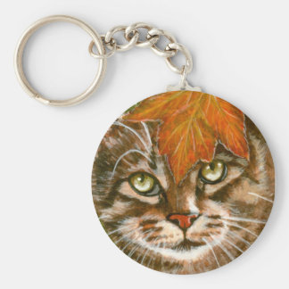 Tabby Cat with Leaf Keychain