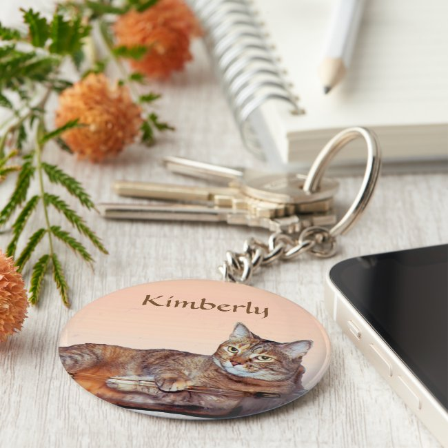 Tabby Cat with Orange and Brown Stripes Keychain