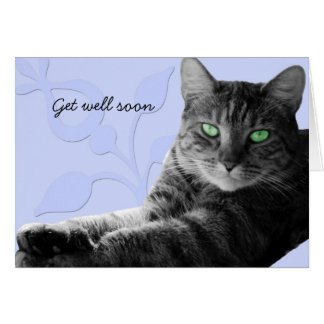 Tabby cat with paws crossed, Get well soon Card