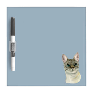 Tabby Cat with Pretty Green Eyes Watercolor Dry-Erase Board