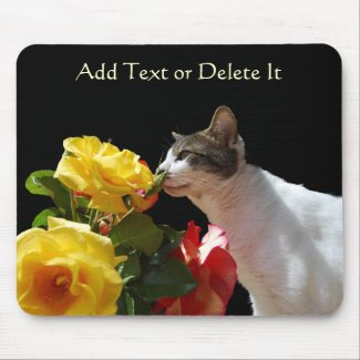 Tabby Cat with Roses mousepad