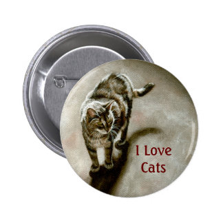 Tabby Cat with shadow, I Love Cats Button