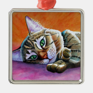 Tabby Cat with Smooshy Face Metal Ornament