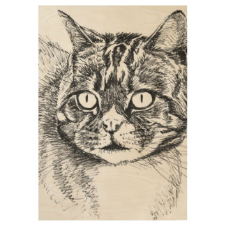 tabby cat, wood poster