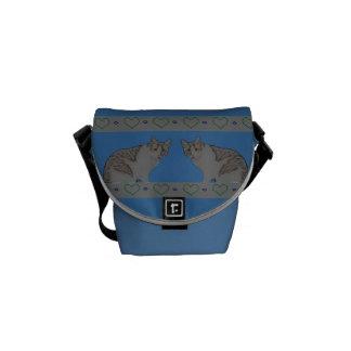 Tabby cats, green hearts, blue dots messenger bag