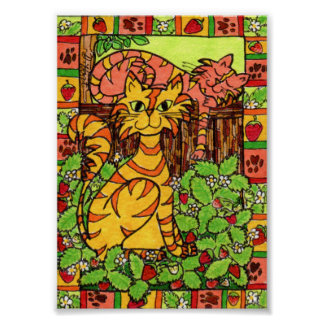 Tabby Cats in a Strawberry Patch Mini Folk Art Poster