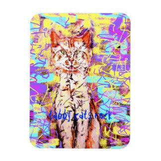 tabby cats rock popart rectangular photo magnet