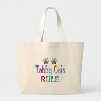 Tabby Cats Rule Large Tote Bag
