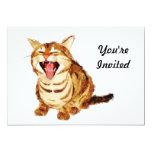 Tabby de bostezo en bosquejo en colores pastel del invitación 12,7 x 17,8 cm