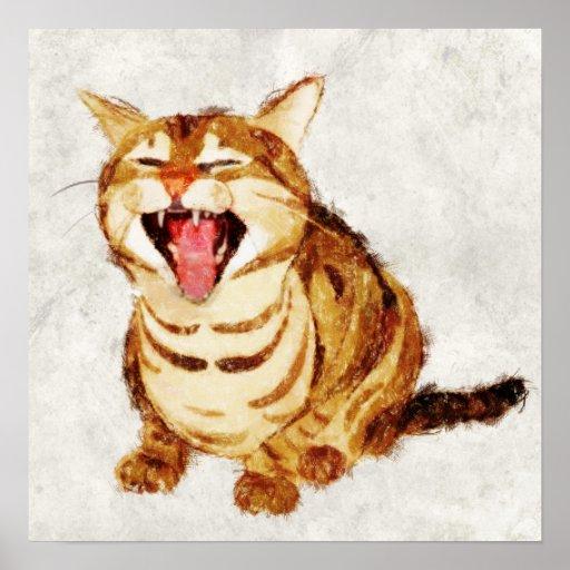 Tabby de bostezo en bosquejo en colores pastel del póster