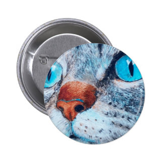 Tabby de ojos azules pin redondo de 2 pulgadas