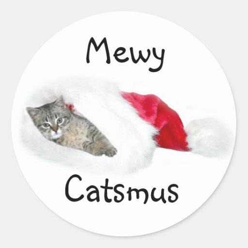 Tabby kitten Christmas Round Sticker