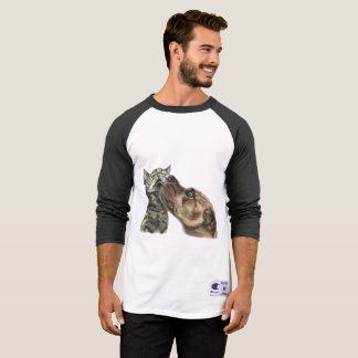 Tabby Kitten Getting A Pit Bull Kiss T-Shirt