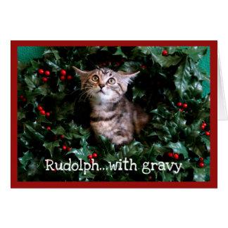 Tabby Kitten in Holly Wreath Card