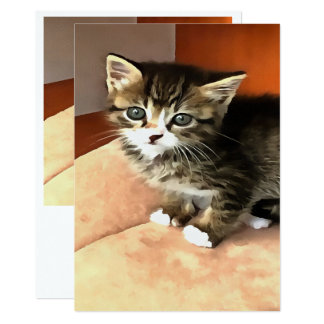 Tabby Kitten Named Miss Pip Squeak Card