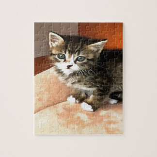 Tabby Kitten Named Miss Pip Squeak Jigsaw Puzzle