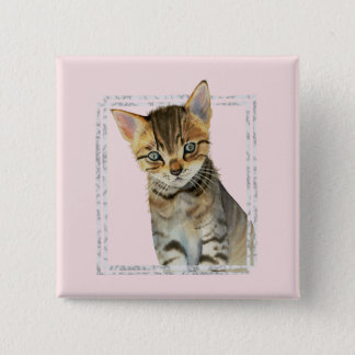 Tabby Kitten Painting with Faux Marble Frame Pinback Button