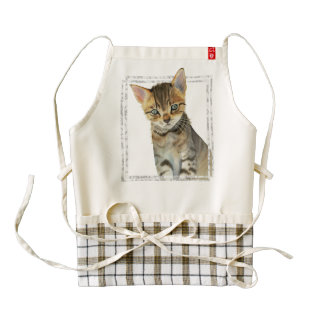 Tabby Kitten Painting with Faux Marble Frame Zazzle HEART Apron