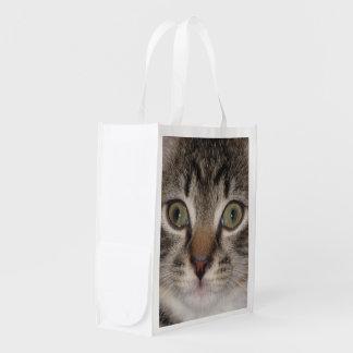 Tabby Kitten Photo Image Fabric Reusable Bag