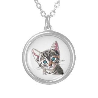 Tabby Kitten Silver Plated Necklace