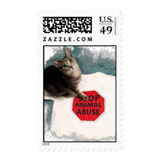 Tabby kitten with a cause Stop Animal Abuse Stamp