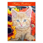 Tabby Kitty Cat Kitten Portrait, Blue Eyes B'Day Greeting Card