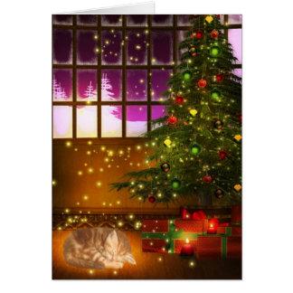 Tabby kitty Christmas Card