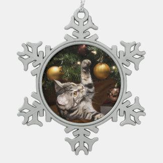 Tabby kitty Christmas play Snowflake Pewter Christmas Ornament