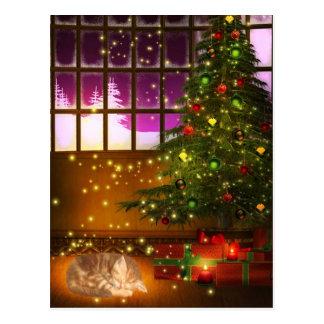 Tabby kitty Christmas Postcard