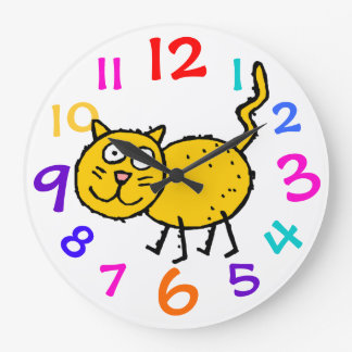 Tabby Kitty Colorful Numbers Clock Child's Room