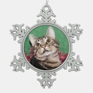 Tabby kitty face Christmas Snowflake Pewter Christmas Ornament
