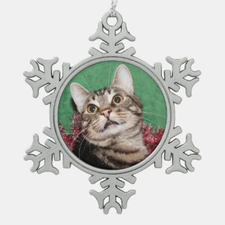 Tabby kitty face Christmas Snowflake Pewter Christmas Ornament