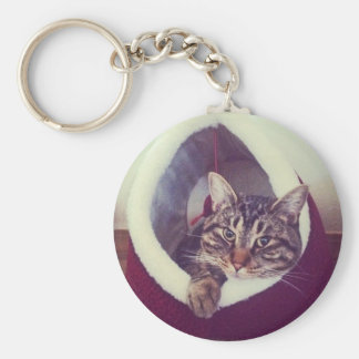 Tabby Kitty In Hut Close-Up Photograph Keychain