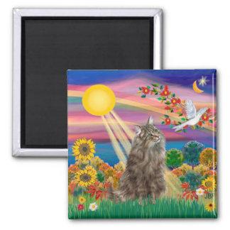 Tabby Norwegian Forest Cat - Autumn Sun Refrigerator Magnet