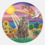 Tabby Norwegian Forest Cat - Autumn Sun Classic Round Sticker