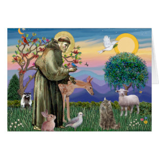 Tabby Norwegian Forest Cat - St Francis Card