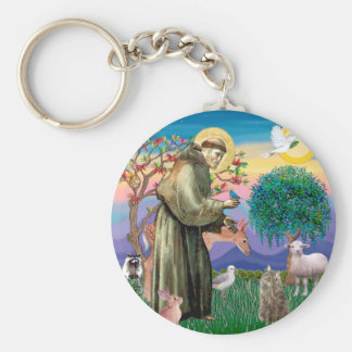 Tabby Norwegian Forest Cat - St Francis Key Chain