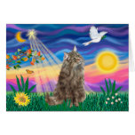 Tabby Norwegian Forest Cat - Twilight Greeting Card