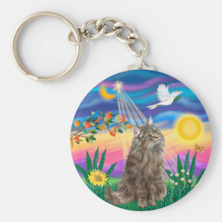 Tabby Norwegian Forest Cat - Twilight Keychains