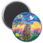 Tabby Norwegian Forest Cat - Twilight Refrigerator Magnet