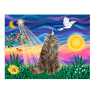 Tabby Norwegian Forest Cat - Twilight Postcard