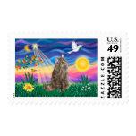 Tabby Norwegian Forest Cat - Twilight Stamp