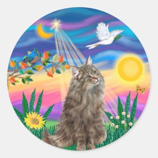 Tabby Norwegian Forest Cat - Twilight Classic Round Sticker