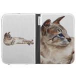 tabby point siamese cat Kindle case