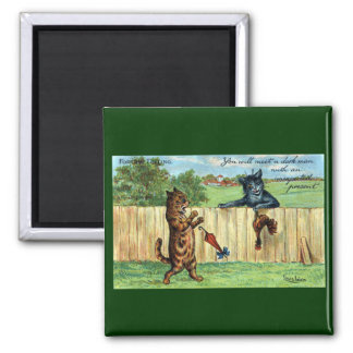 Tabby Startled by Dark Cat with Fowl Gift 2 Inch Square Magnet