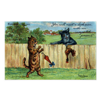 Tabby Startled by Dark Cat with Fowl Gift Poster